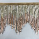 "By the yard 6"" Gold/Copper Ombre BUGLE Beaded Fringe Chevron Lamp Costume Trim"