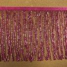 "By the Yard-6"" Glass FUCHSIA PINK BUGLE Seed Bead Beaded Fringe Lamp Costume Trim"
