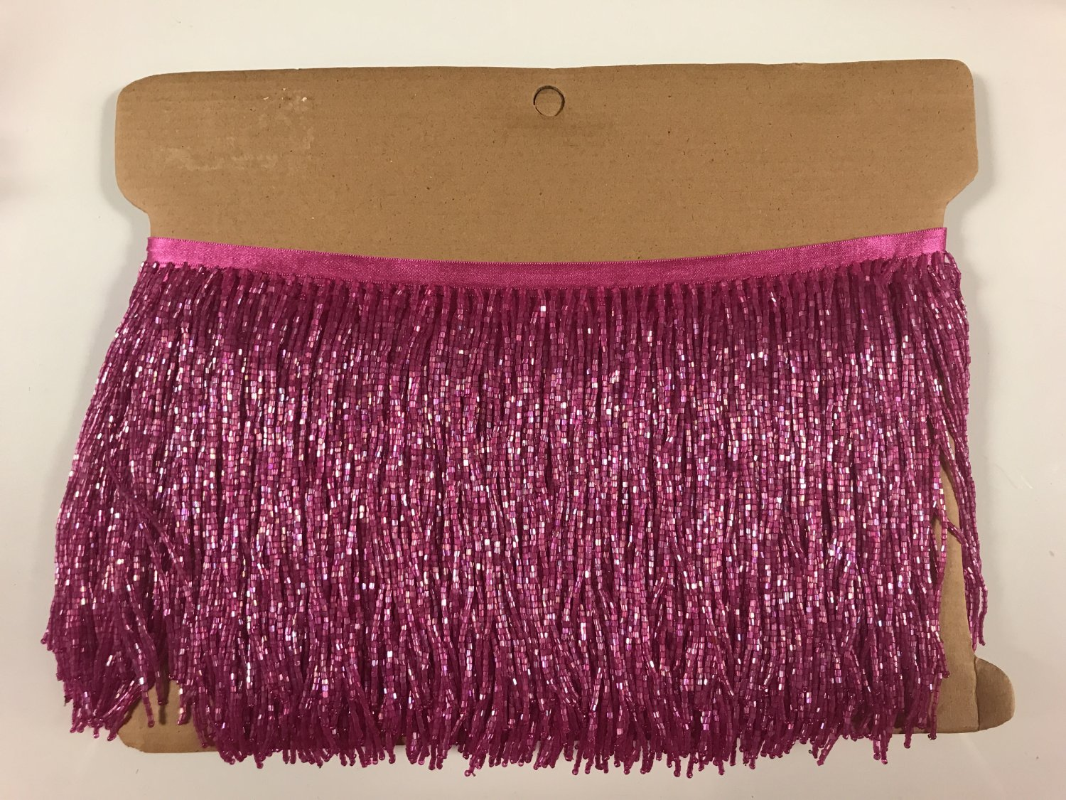 "5 yard bolt-6"" Glass FUCHSIA PINK BUGLE Seed Bead Beaded Fringe Lamp Costume Trim"