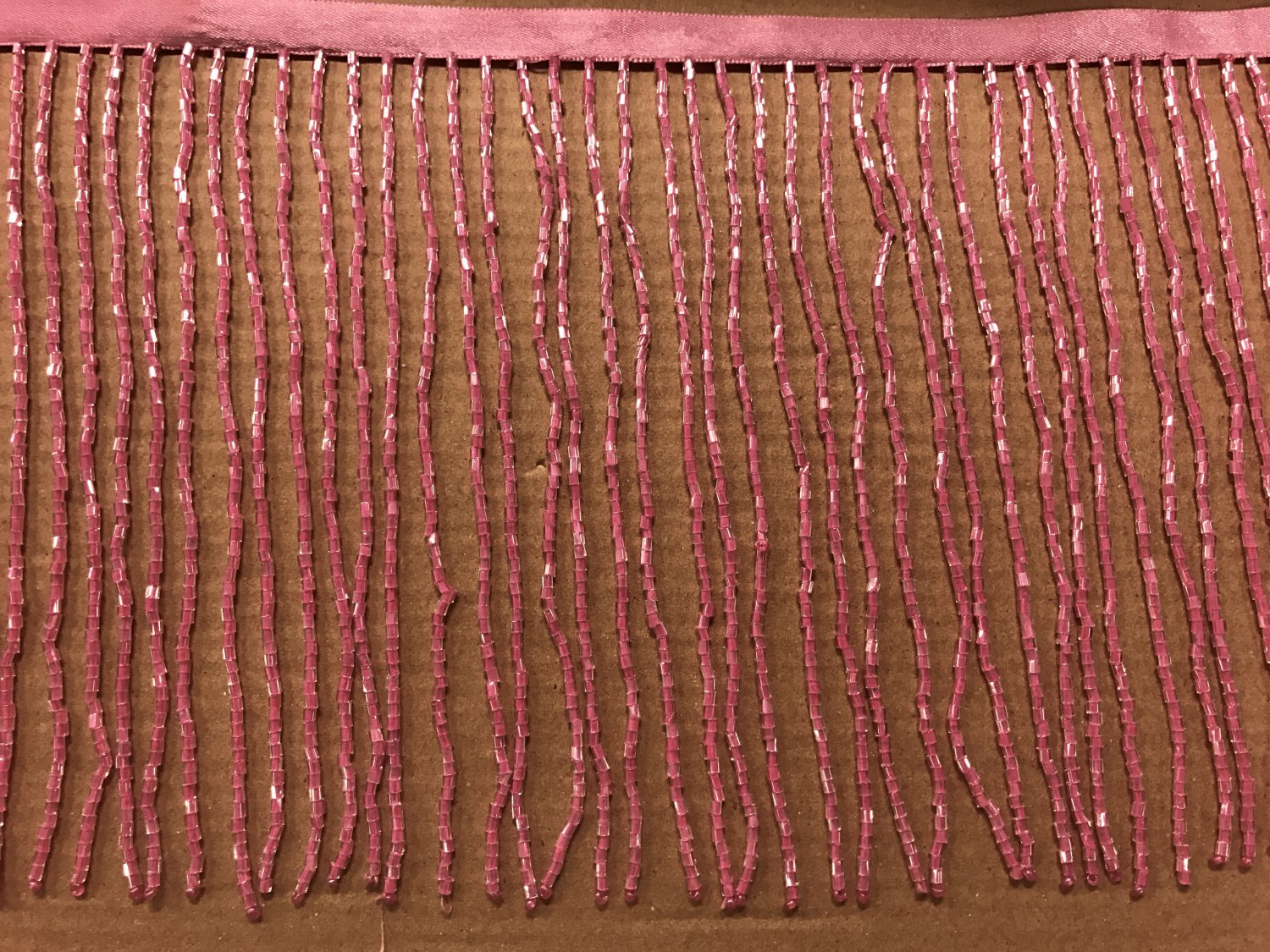 "By the yard-6"" Glass HOT PINK BUGLE Seed Bead Beaded Fringe Lamp Costume Trim"