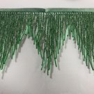 "1 Yard 6.5"" Green Glass Seed Bugle Beaded Fringe Chevron Lamp Costume Trim"