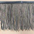 "By the yard-6"" Glass ROYAL BLUE BUGLE Seed Bead Beaded Fringe Lamp Costume Trim"
