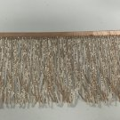 "By the yard-6"" Glass ROSE GOLD BUGLE Seed Bead Beaded Fringe Lamp Costume Trim"