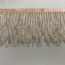 "By the yard-4.5/4"" Glass ROSE GOLD BUGLE Seed Bead Beaded Fringe Lamp Costume Trim"