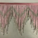 "6"" Pink/Silver Glass Seed Bugle Beaded Fringe Chevron Lamp Costume Trim by Yard"