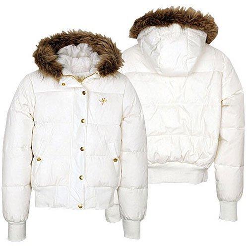"""White """"SouthPole"""" Fur Trim Bubble Jacket Coat (S)"""