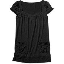 Casual Black 2-Pocket Babydoll Tunic Top Shirt Blouse (M)