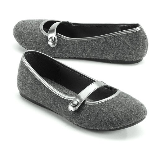 Faded Glory Gray Flannel Mary Janes Flats Shoes (6)