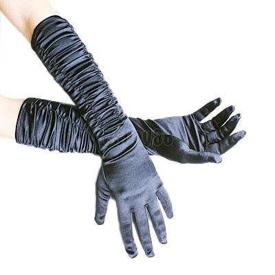 Sexy Long Black Ruched Silk Satin Gloves