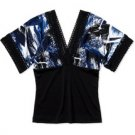 Abstract Black Blue Kimono Top Blouse (S)