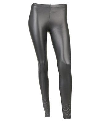 Long Black Faux Leather Shiny Wet Pants