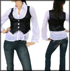 White Collar Black Vest Flutter Sleeve Top Blouse (M)