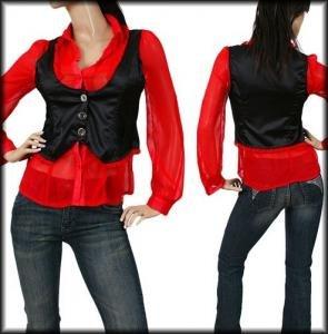 Red Collar Black Vest Flutter Sleeve Top Blouse (S)