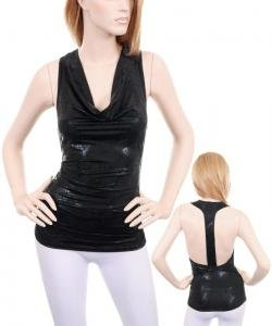 Black Metallic Leather Backless Cowl Neck Clubbing Top (S)