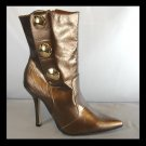 Bronze Copper Midcalf Military Gold Button High Heel Ankle Boots (6)