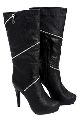 Hot Topic Torrid Black Spiral Twist Zipper High Heel Boots (6)
