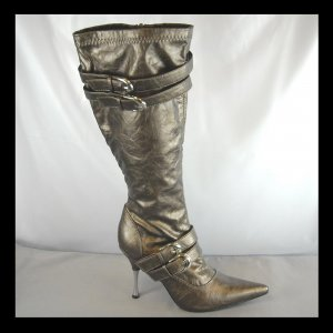 Bronze Knee High High Heel Boots (6)