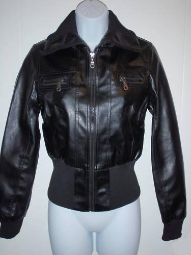 Max Azria & Miley Cyrus Black Bomber Faux Leather Jacket (L)