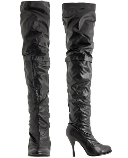 """Wet Seal Black Thigh High Heel """"Over The Knee"""" Hooker Fetish Boots"""