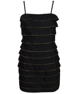 F21 Forever 21 Black Tiered Zipper Tape Dress (S)