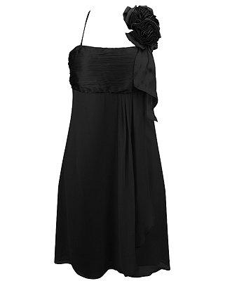 F21 Forever 21 Black Satin Rosette Dress (S)