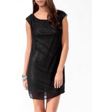 F21 Forever 21 Black Silver Layered Metallic Shift Dress S