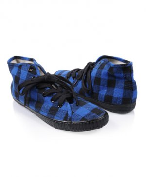 F21 Forever 21 Blue Black Plaid Gingham High Top Sneakers 7
