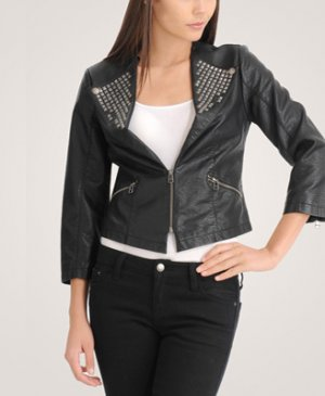 F21 Forever 21 Black Silver Pyramid Studded Motorcycle Biker Front Zip Jacket S