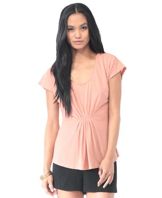F21 Forever 21 Pink Rose Essential Pleated Front Top Blouse (S)