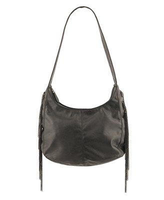 F21 Forever 21 Black Faux Leather Chain Fringe Handbag