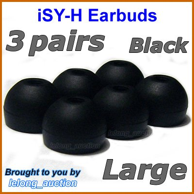 Large Ear Buds Tips Pads Cushions for Sony MDR EX300 EX500 EX700 EX310 EX510 EX600 EX1000 @Black