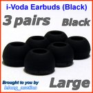 Large Ear Buds Tips Pads for Sennheiser CX 270 271 280 281 300 300-II 400 400-II 500 475 485 @Black