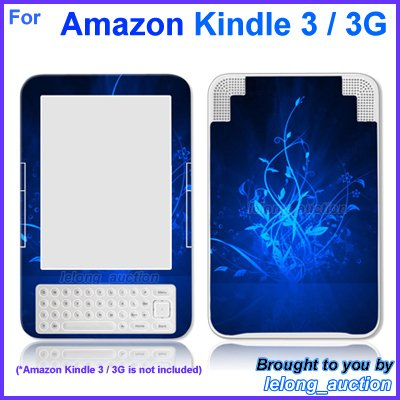 Vinyl Skin Sticker Art Decal Blue Glow Design for Amazon Kindle 3 Wi-Fi 3G eBook Reader