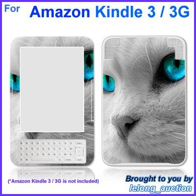 Vinyl Skin Sticker Art Decal Blue Eye Cat Design for Amazon Kindle 3 Wi-Fi 3G eBook Reader