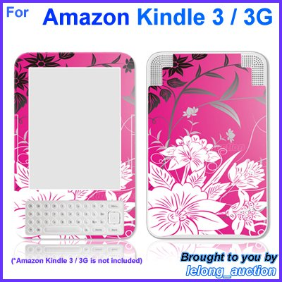 Vinyl Skin Sticker Art Decal Pink Flower Design for Amazon Kindle 3 Wi-Fi 3G eBook Reader