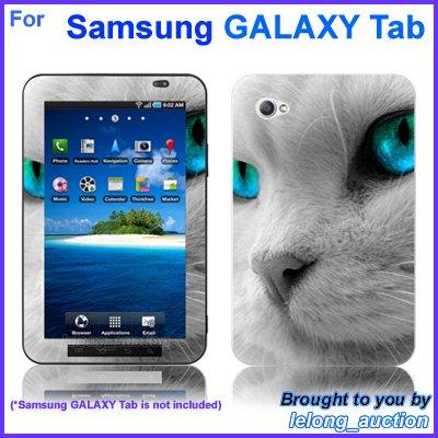 """Vinyl Skin Sticker Art Decal Blue Eye Cat Design for Samsung GALAXY Tab 7"""" 7-inch Tablet"""