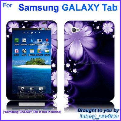 "Vinyl Skin Sticker Art Decal Purple Flower Design for Samsung GALAXY Tab 7"" 7-inch Tablet"