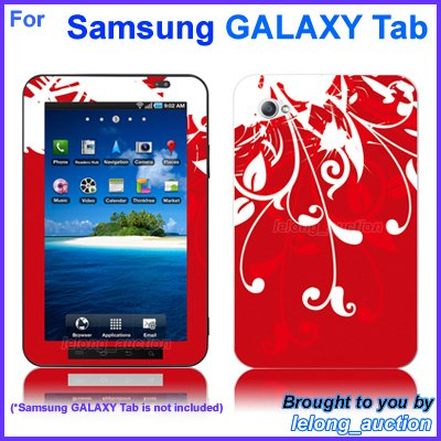 "Vinyl Skin Sticker Art Decal Red Flower Design for Samsung GALAXY Tab 7"" 7-inch Tablet"