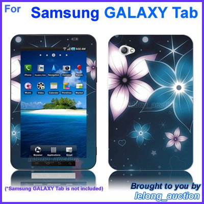 "Vinyl Skin Sticker Art Decal Blue Flower Design for Samsung GALAXY Tab 7"" 7-inch Tablet"