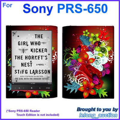 Vinyl Skin Sticker Art Decal Assorted Flower Design for Sony PRS-650 Reader Touch Edition eReader