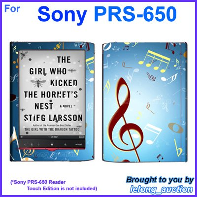 Vinyl Skin Sticker Art Decal Music Notes Design for Sony PRS-650 Reader Touch Edition eReader