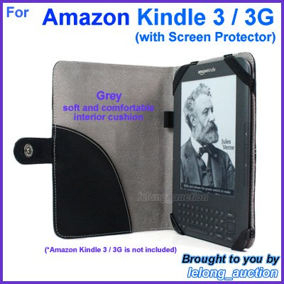 Black Genuine Leather Case Cover for Amazon Kindle 3 Wi-Fi 3G eBook Reader (with Screen Protector)