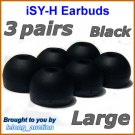 Large Ear Buds Tips Pads Cushions for Sony MDR XB20 XB21 XB40 XB41 NC13 NC33 NC300 EX38iP @Black