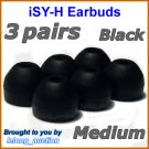 Medium Ear Buds Tips Pads Cushions for Sony MDR XB20 XB21 XB40 XB41 NC13 NC33 NC300 EX38iP @Black