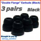 Double Flange Ear Buds Tips Cushions for Ultimate Ears UE In Ear Earphones TripleFi 10 10vi @Black
