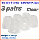 Double Flange Ear Buds Tips Cushions for Ultimate Ears UE In Ear Earphones TripleFi 10 10vi @Clear