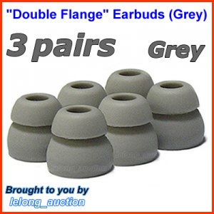 Double Flange Ear Buds Tips Cushions for Ultimate Ears UE 100 200 200vi 300 300vi 350 350vi @Grey