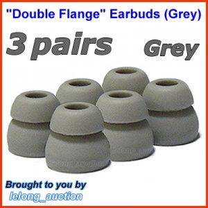 Double Flange Ear Buds Tips Cushions for Ultimate Ears UE In Ear Earphones TripleFi 10 10vi @Grey