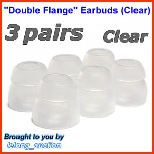 Replacement Double Flange Ear Buds Tips Cushion for Audio-Technica In-Ear Earphones Headphone @Clear