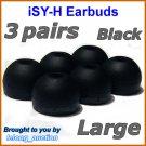 Large Replacement Ear Buds Tips Cushions for Sony XBA-1 XBA-1iP XBA-2 XBA-2iP XBA-3 XBA-3iP @Black
